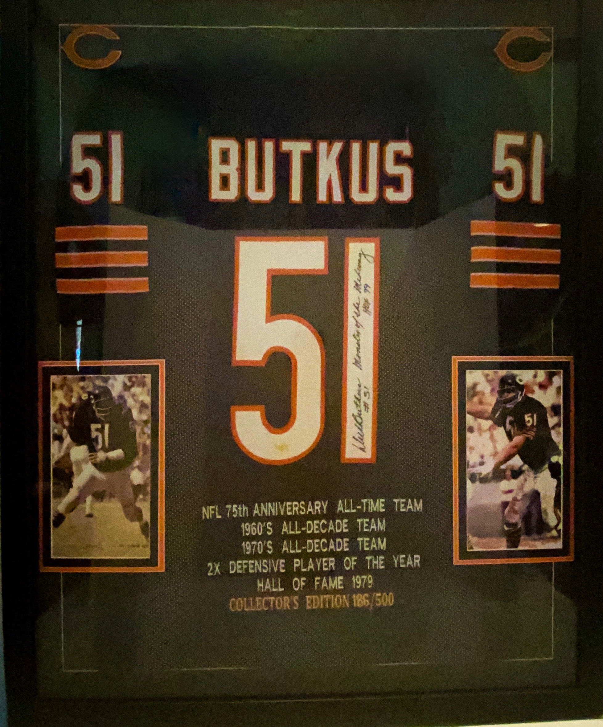 Authentic Signed NFL 75th Anniversary Dick Butkus #51 Jersey